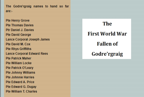 The First World War fallen from Godre'rgraig